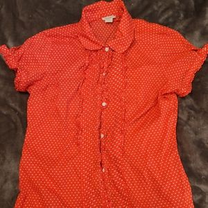 Red polka dot ruffle sleeve button down blouse
